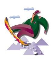 ジャンプをするスノーボーダー 11023012238| 写真素材・ストックフォト・画像・イラスト素材|アマナイメージズ