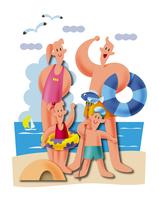 海水浴をする家族 11023012253| 写真素材・ストックフォト・画像・イラスト素材|アマナイメージズ