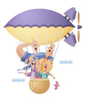 飛行船に乗る家族 11023012258| 写真素材・ストックフォト・画像・イラスト素材|アマナイメージズ
