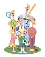 スポーツをする三世代家族 11023012261| 写真素材・ストックフォト・画像・イラスト素材|アマナイメージズ