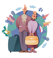 海外旅行をするカップル