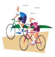 サイクリングをするカップル 11023012267| 写真素材・ストックフォト・画像・イラスト素材|アマナイメージズ