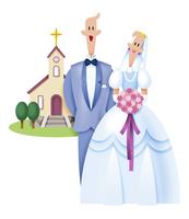 教会と新郎新婦 11023012268| 写真素材・ストックフォト・画像・イラスト素材|アマナイメージズ