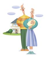 赤ちゃんを抱く若い夫婦