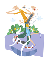 犬の散歩をするカップル 11023012276| 写真素材・ストックフォト・画像・イラスト素材|アマナイメージズ