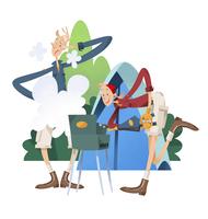 キャンプでバーベキューをするカップル 11023012277| 写真素材・ストックフォト・画像・イラスト素材|アマナイメージズ