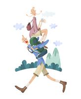 ハイキングをするカップル 11023012278| 写真素材・ストックフォト・画像・イラスト素材|アマナイメージズ
