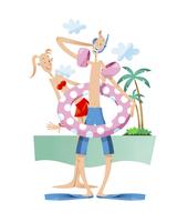 海水浴をするカップル 11023012279| 写真素材・ストックフォト・画像・イラスト素材|アマナイメージズ