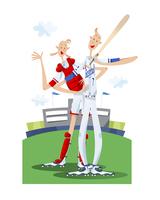 野球をするカップル 11023012280| 写真素材・ストックフォト・画像・イラスト素材|アマナイメージズ