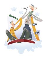 スノーボードをするカップル