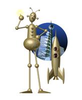 ロボットとロケット 11023012289| 写真素材・ストックフォト・画像・イラスト素材|アマナイメージズ