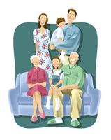 三世代家族 11023012290| 写真素材・ストックフォト・画像・イラスト素材|アマナイメージズ