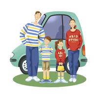 ペアルックを着た家族と車