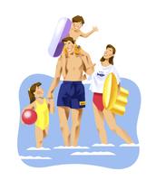 海水浴をする家族