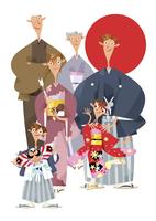 三世代家族の正月イメージ 11023012302| 写真素材・ストックフォト・画像・イラスト素材|アマナイメージズ