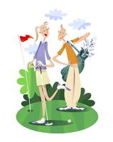 ゴルフをするカップル 11023012361| 写真素材・ストックフォト・画像・イラスト素材|アマナイメージズ