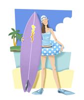 サーフボードを持つ女性 11023012376| 写真素材・ストックフォト・画像・イラスト素材|アマナイメージズ