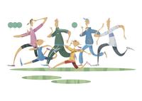 ジョギングをする三世代家族 11023012383| 写真素材・ストックフォト・画像・イラスト素材|アマナイメージズ
