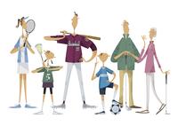 スポーツをする三世代家族