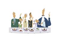 レストランで食事をする三世代家族