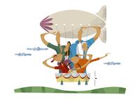 飛行船に乗る三世代家族