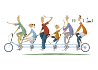 サイクリングをする三世代家族 11023012391| 写真素材・ストックフォト・画像・イラスト素材|アマナイメージズ