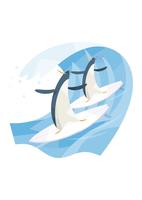 サーフィンをするペンギン