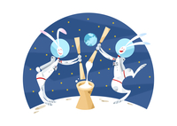 月で餅つきをするウサギのカップル