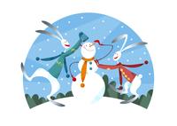 雪だるまを作るウサギのカップル