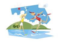 川で遊ぶ男の子と女の子