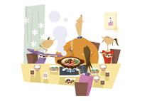 鍋を囲む家族 11023012455| 写真素材・ストックフォト・画像・イラスト素材|アマナイメージズ