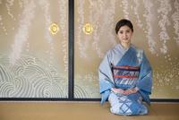 襖絵の前に正座する着物姿の女性 11023018773| 写真素材・ストックフォト・画像・イラスト素材|アマナイメージズ