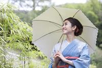 日傘を差す着物姿の女性
