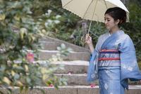 日傘を差して石階段を歩く着物姿の女性