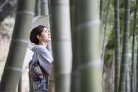 竹林を歩く着物姿の女性 11023018997| 写真素材・ストックフォト・画像・イラスト素材|アマナイメージズ