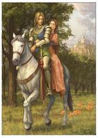 2人で馬に乗るジェレイントとエニド 11023022547| 写真素材・ストックフォト・画像・イラスト素材|アマナイメージズ