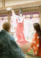 仏御前の舞を見る平清盛と祇王 11023022548| 写真素材・ストックフォト・画像・イラスト素材|アマナイメージズ