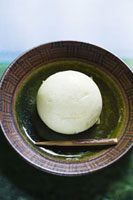 Manju (Japanese cake filled with bean paste) on plate