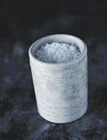 Coarse salt in ceramic container
