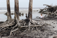Girl sitting alone on driftwood at beach, Jekyll Island, Georgia, USA