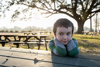 Boy sitting at picnic table in park, portrait