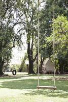 Empty swing in backyard