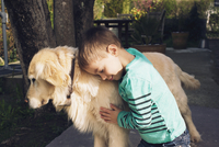 Boy with family dog
