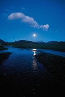 Moon rising over Nyidalur, Iceland