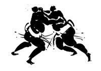 イラスト 相撲の力士 黒