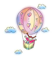 気球に乗った女の子とネコ
