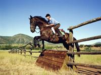 Mature woman practicing equestrian jump 11027001290| 写真素材・ストックフォト・画像・イラスト素材|アマナイメージズ