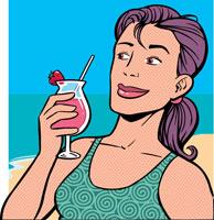 Woman drinking cocktail on beach 11027001580  写真素材・ストックフォト・画像・イラスト素材 アマナイメージズ