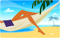 Woman with book on hammock on beach 11027002876| 写真素材・ストックフォト・画像・イラスト素材|アマナイメージズ
