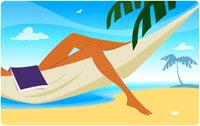 Woman with book on hammock on beach